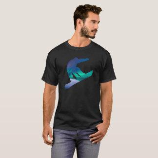 Camiseta T-shirt do norte das luzes de céu da silhueta do