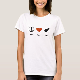 Camiseta T-shirt do NZ das mulheres dos quivis do amor da