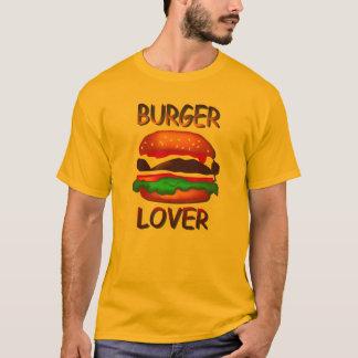Camiseta T-shirt do ouro dos homens do Hamburger do amante