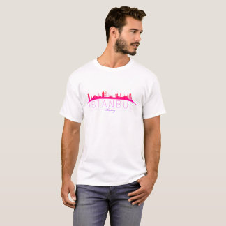 Camiseta T-shirt do panorama de Isatnbul colorido com