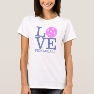 "Camiseta T-shirt do Pickleball das mulheres: ""AMOR"" (rosa)"