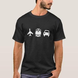 Camiseta T-shirt do pictograma dos planos/trens/automóveis