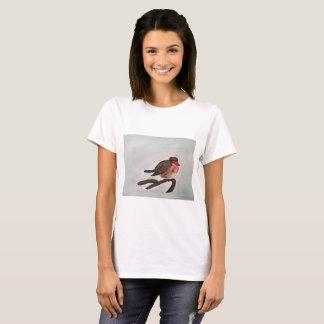 Camiseta T-shirt do pisco de peito vermelho das mulheres