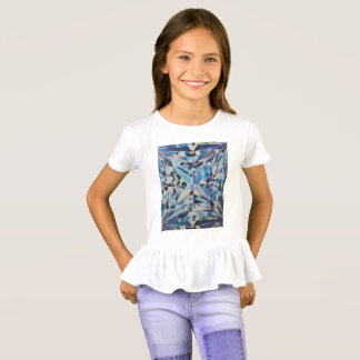 Camiseta T-shirt do plissado das meninas de vidro do