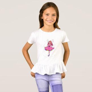 Camiseta T-shirt do plissado das meninas do rubi