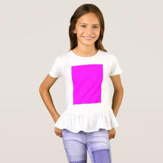 Camiseta t-shirt do plissado das meninas fúcsia roxas