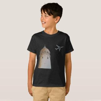 Camiseta T-shirt do preto da torre de Galata para miúdos