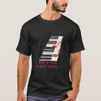 Camiseta T-shirt do preto de CALÇADOS de DANCIN