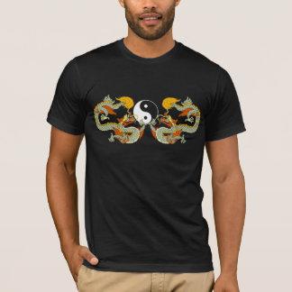 Camiseta T-shirt do preto do dragão de Yin Yang