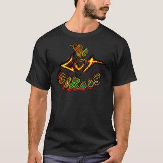 Camiseta T-shirt do preto do logotipo do circo do intestino