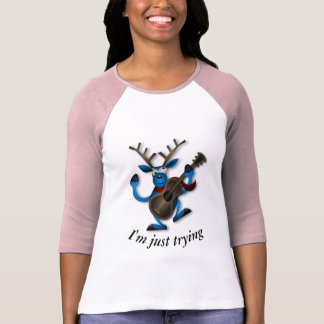 Camiseta T-shirt do Raglan da fama do Ukulele das mulheres