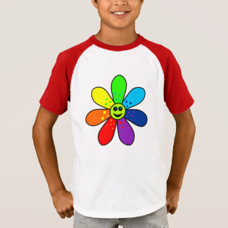Camiseta T-shirt do Raglan da flor do arco-íris (criança)