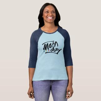 Camiseta T-shirt do Raglan da luva do dia 3/4 da mamã