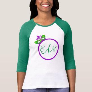 Camiseta T-shirt do Raglan da luva do monograma 3/4 do