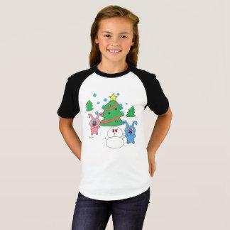 Camiseta T-shirt do Raglan das meninas de Rollys do tempo