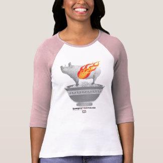 Camiseta T-shirt do Raglan das mulheres da barriga de porco