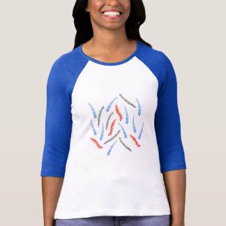 Camiseta T-shirt do Raglan das mulheres dos ramos