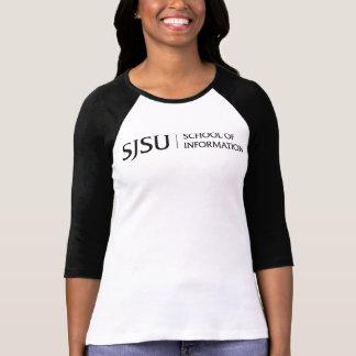 Camiseta T-shirt do Raglan das mulheres - logotipo preto do
