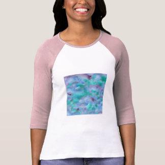 Camiseta T-shirt do Raglan das mulheres roxas verdes da