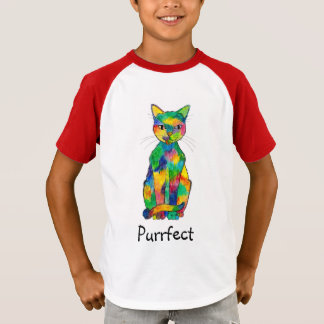 Camiseta T-shirt do Raglan de Purrfect do gato do arco-íris