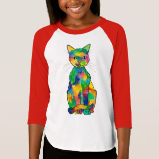Camiseta T-shirt do Raglan do gato do arco-íris (criança)