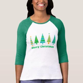 Camiseta T-shirt do Raglan do Natal dos abeto