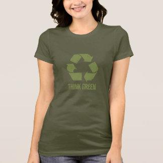 Camiseta T-shirt do reciclar do pense verde