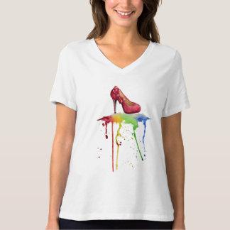 Camiseta T-shirt do salto alto da aguarela