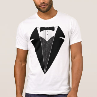 Camiseta T-shirt do smoking, branco com Bowtie preto