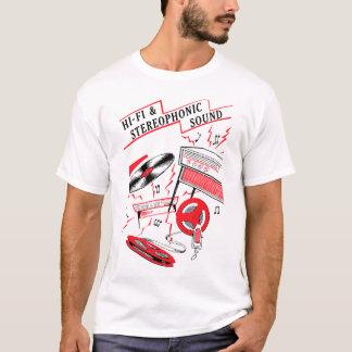 Camiseta T-shirt do som de alta fidelidade e estereofónico