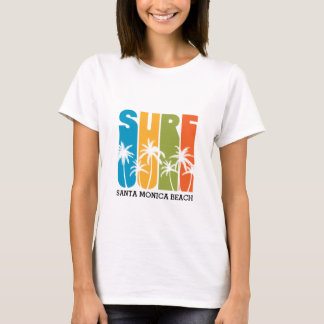 CAMISETA T-SHIRT DO SURF DA PRAIA DE SANTA MONICA