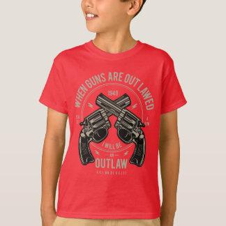Camiseta T-shirt do TAGLESS® dos miúdos do fora da lei