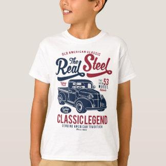Camiseta T-shirt do TAGLESS® dos miúdos reais do aço