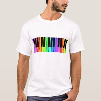 Camiseta T-shirt do teclado do arco-íris do músico