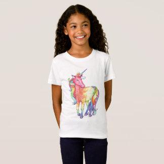 Camiseta T-shirt do unicórnio do arco-íris das meninas