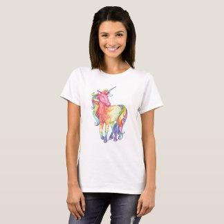 Camiseta T-shirt do unicórnio do arco-íris das senhoras