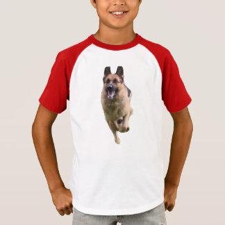 Camiseta T-shirt do V-Pescoço da luva do german shepherd