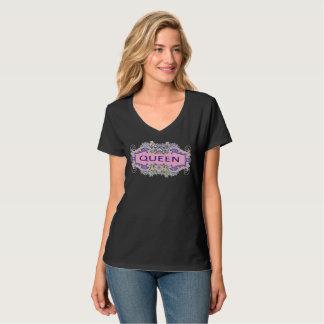 Camiseta T-shirt do V-Pescoço da RAINHA