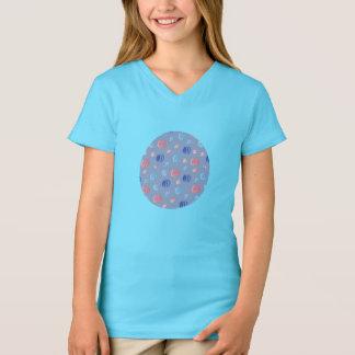 Camiseta T-shirt do V-Pescoço das meninas chinesas das