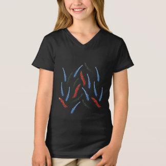 Camiseta T-shirt do V-Pescoço das meninas do ramo