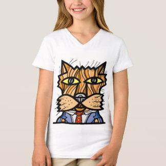 """Camiseta T-shirt do V-Pescoço das meninas """"ocasionais"""""""