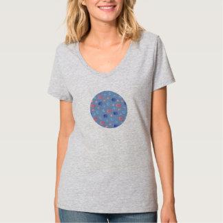 Camiseta T-shirt do V-Pescoço das mulheres chinesas das