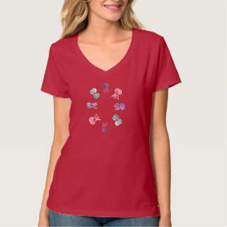 Camiseta T-shirt do V-Pescoço das mulheres das medusa