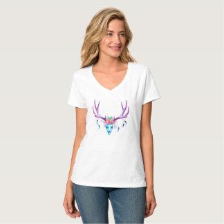 Camiseta T-shirt do V-pescoço das mulheres do crânio do