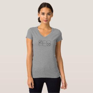 Camiseta T-shirt do V-Pescoço das mulheres do dominó de
