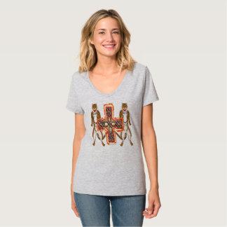 Camiseta T-shirt do V-Pescoço das senhoras da cruz do Celt