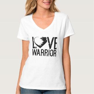 Camiseta T-shirt do V-Pescoço do guerreiro do amor