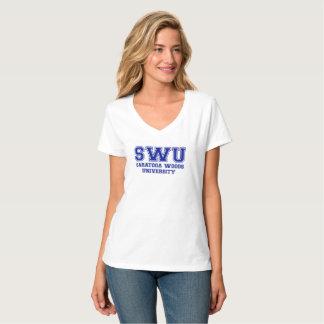 Camiseta T-shirt do v-pescoço do logotipo das mulheres