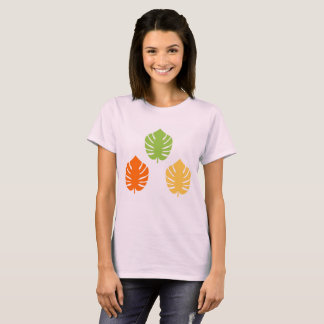 Camiseta T-shirt do verão com folhas exóticas