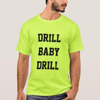 Camiseta T-shirt do verde da segurança da broca do bebê da